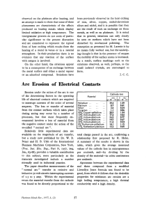 Arc Erosion of Electrical Contacts