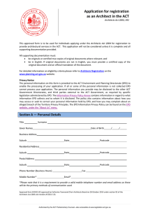 Application for Registration as an Architect