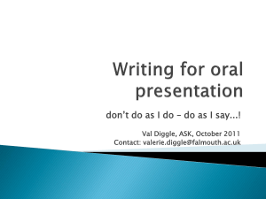 Writing for oral presentation
