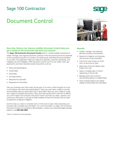 Sage 100 Contractor Document Control
