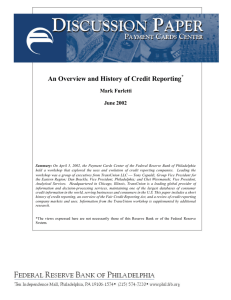 An Overview and History of Credit Reporting