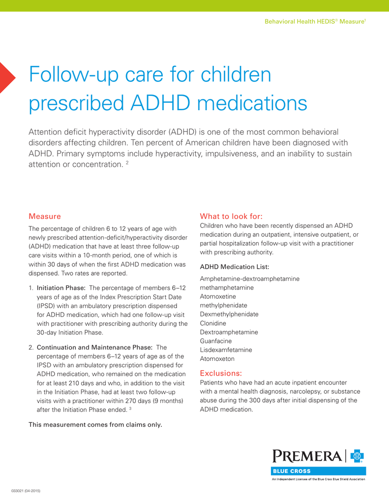 HEDIS Tip Sheet - Follow-up Care for Children Prescribed