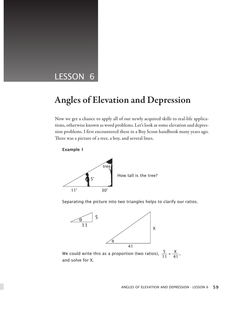 Angle of elevation and depression worksheet