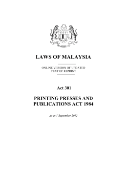 printing presses and publication act 1984 Posts about printing presses and publication act written by chinhuatw people are the boss  section 25 (1) of the printing presses and publications act 1984 says.