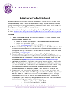 Pupil Activity Permit Guidelines
