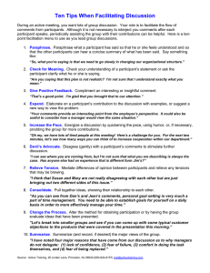 Ten Tips When Facilitating Discussion