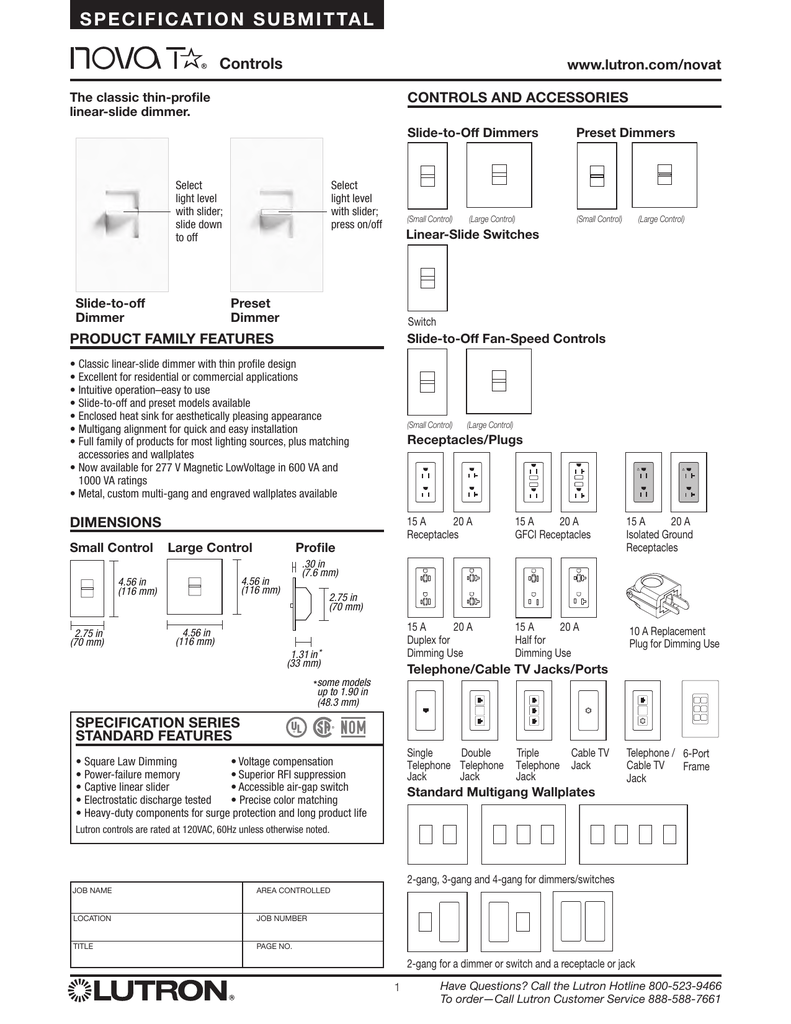Lutron Nova T Ntftv Bl Dimmer Spec Sheet Duty Grade Flush Mount Power Receptacle With 4wire Grounding Black