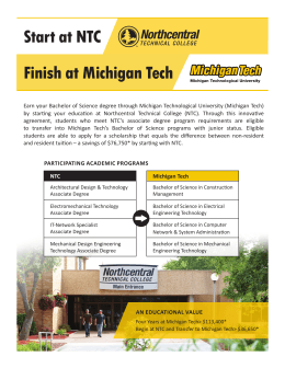 Start at NTC Finish at Michigan Tech
