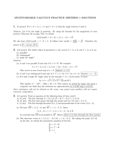 MULTIVARIABLE CALCULUS PRACTICE MIDTERM 1 SOLUTIONS