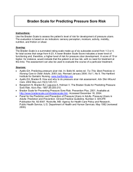 Braden Scale for Predicting Pressure Sore Risk