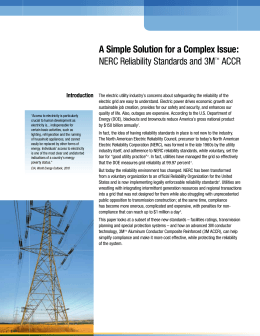 A Simple Solution for a Complex Issue: NERC Reliability