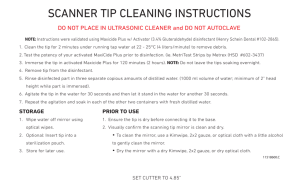 SCANNER TIP CLEANING INSTRUCTIONS
