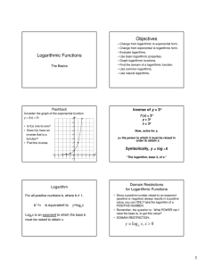 Logarithmic Functions Objectives
