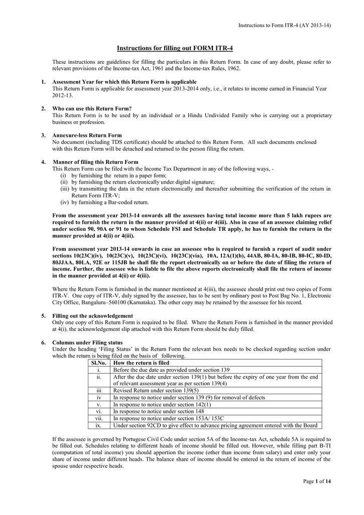 Instructions For Filling Out Form Itr 4