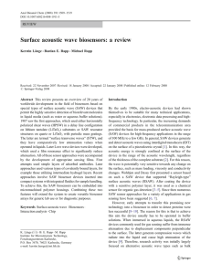 Surface acoustic wave biosensors: a review