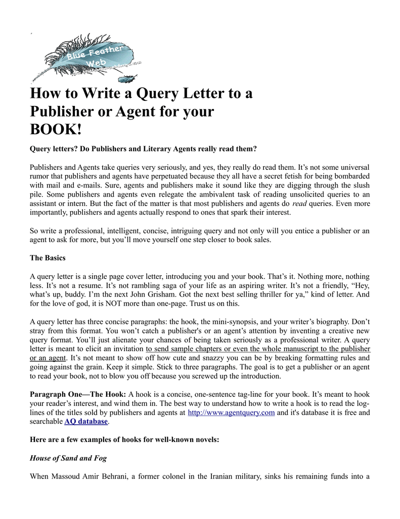 How to write a query letter to a publisher or agent for your book spiritdancerdesigns Images