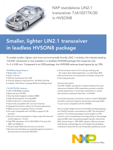 Smaller, lighter LIN2.1 transceiver in leadless HVSON8 package