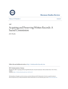Acquiring and Preserving Written Records: A Sacred Commission