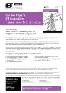 Call for Papers IET Generation Transmission