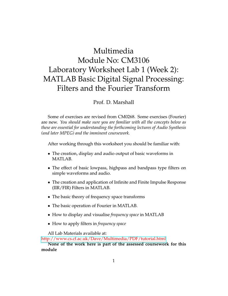 Multimedia Module No: CM3106 Laboratory Worksheet Lab 1 (Week