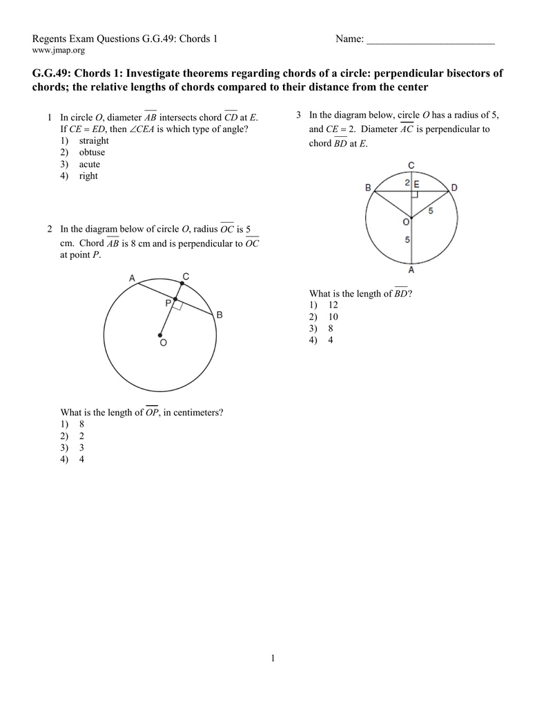 Gg49 chords 1 investigate theorems regarding chords of a circle ccuart Image collections