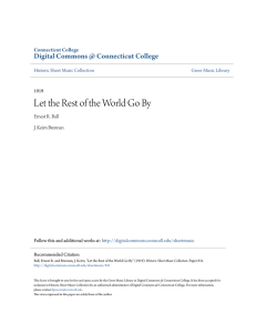 Let the Rest of the World Go By - Digital Commons @ Connecticut