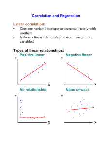Correlation and Regression Linear correlation: • Does one variable
