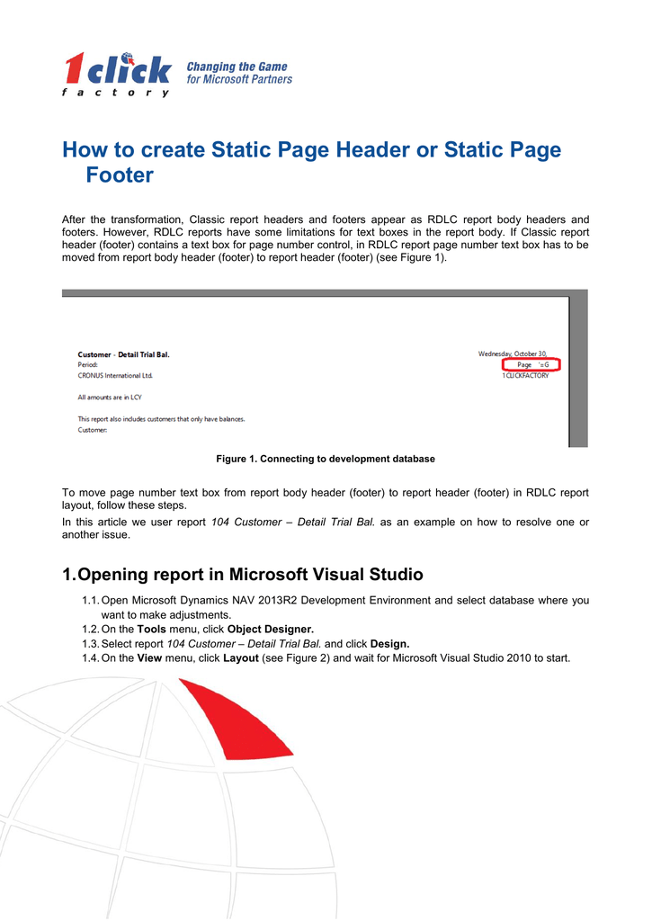 How to create Static Page Header or Static Page