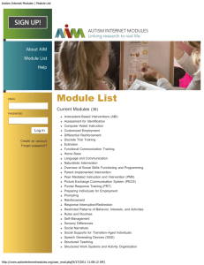 Autism Internet Modules | Module List