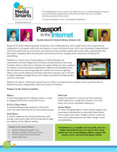 Passport to the Internet modules: MediaSmarts is a Canadian not