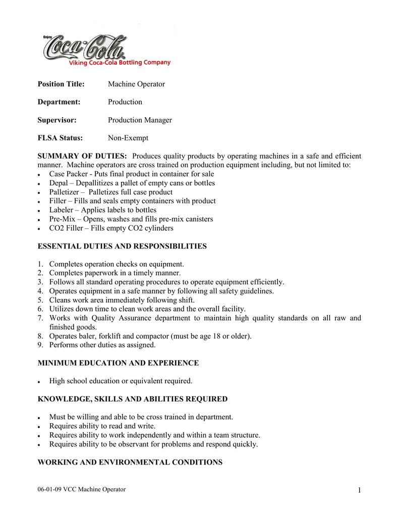 Job Description Viking Coca Cola