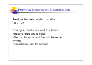 Previous lectures on Electrostatics