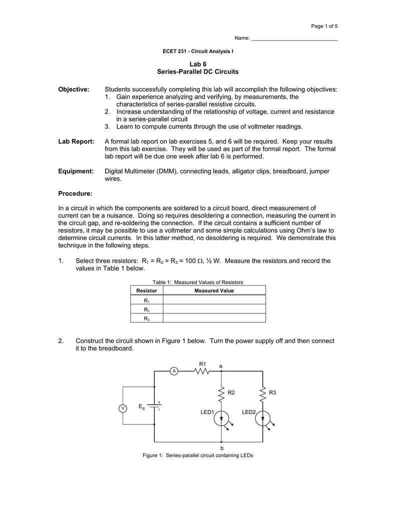 Dc Circuit Lab Report Wiring Diagram Simple 6 Series Parallel Circuits Objective Rh Studylib Net Conclusion