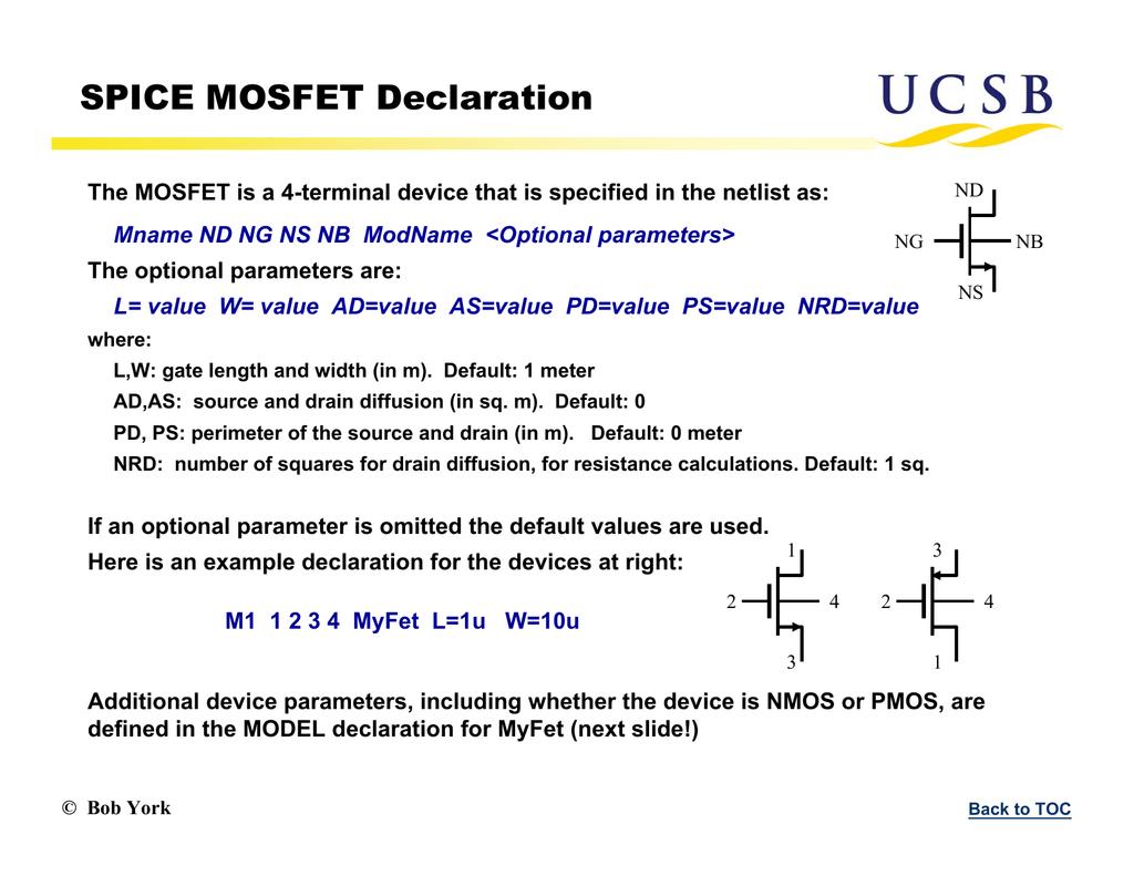 SPICE MOSFET Declaration