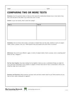 COMPARING TWO OR MORE TEXTS