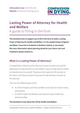 Lasting Power of Attorney for Health and Welfare A guide to filling in