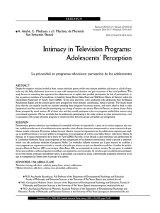Intimacy in Television Programs: Adolescents` Perception