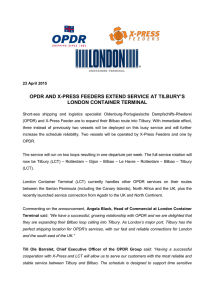OPDR AND X-PRESS FEEDERS EXTEND SERVICE AT TILBURY`S