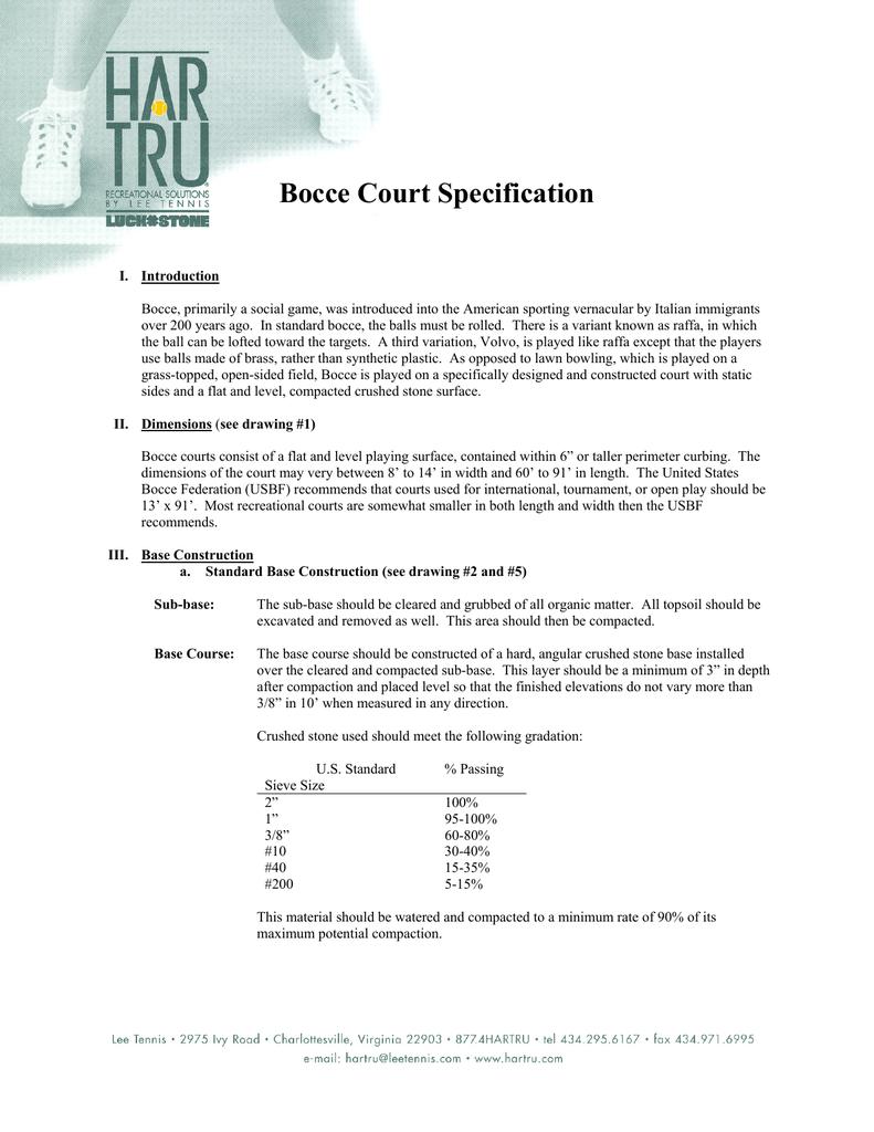 Bocce Court Specification Bocce Standards Association