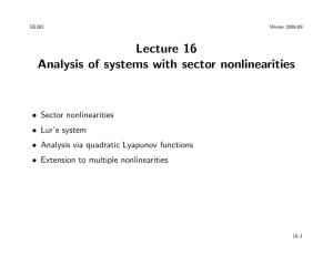 Lecture 16 Analysis of systems with sector nonlinearities