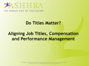 Do Titles Matter? Aligning Job Titles, Compensation and