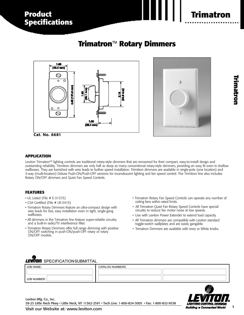 Trimatron Home Depot Leviton Rotary Dimmer Wiring Diagram