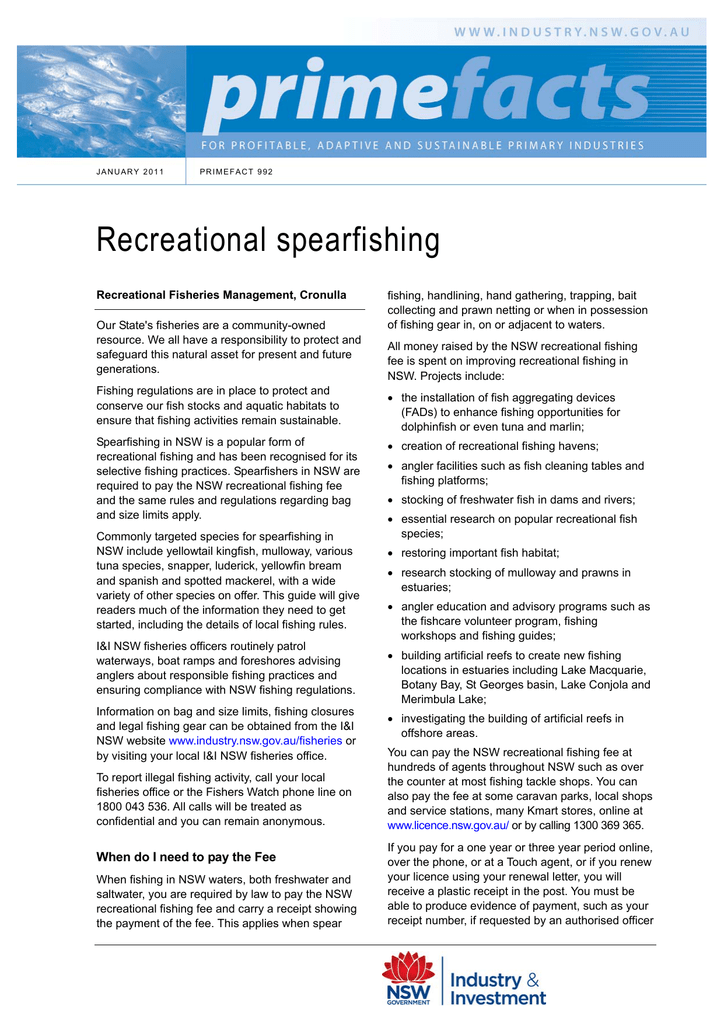 Recreational spearfishing - NSW Department of Primary Industries