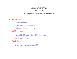 ELEC/COMP 425 Fall 2010 Computer Systems Architecture