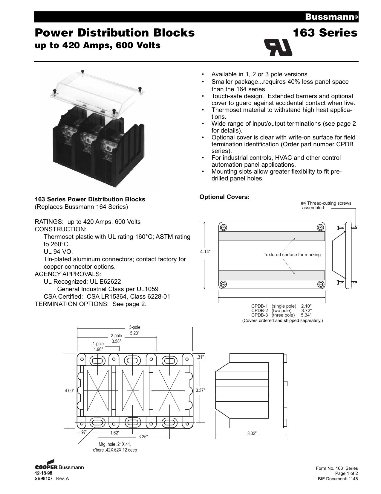 BUSSMAN CPDB-3 CLEAR COVER NEW NO BOX