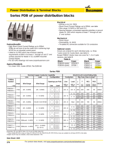 90 Ampere Mersen 62000 Copper Open Style Mini Box to Box Power Distribution Block with 1-Pole and 1 Stud 4-14 Wire Size