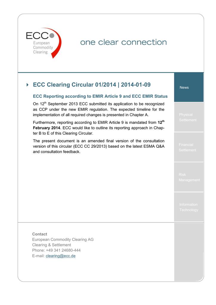 Ecc Reporting According To Emir Article 9 And Ecc Emir Status