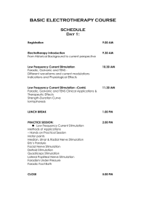 BASIC ELECTROTHERAPY COURSE SCHEDULE Day 1
