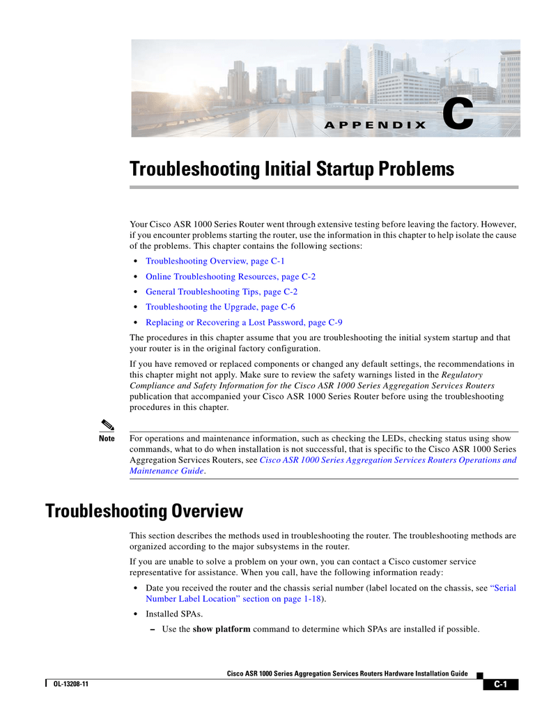 Troubleshooting Initial Startup Problems