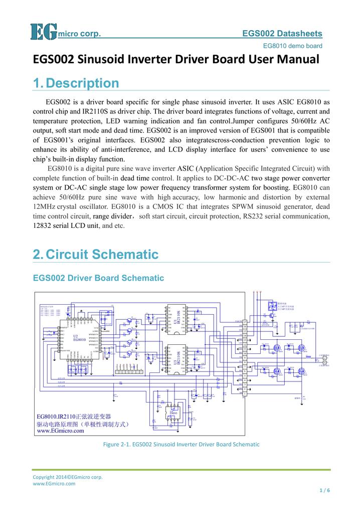 EGS002 Sinusoid Inverter Driver Board User Manual 1  Description